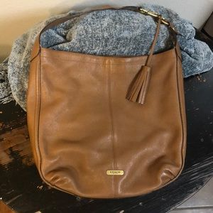 COACH Tan Avery Pebbled Leather Hobo Purse